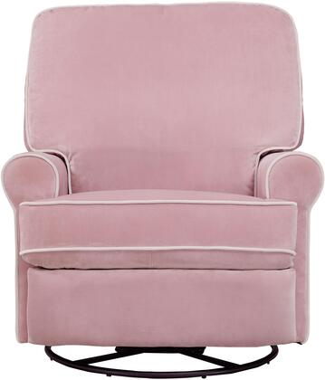 Birch Hill DS-913-006-530 Swivel Glider Recliner with Sinuous Spring Suspension  Velvet Like Cover and Padded Back in Stella