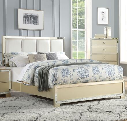 Voeville II Collection 27130Q Queen Size Bed with PU Leather Upholstered High Headboard  Low Profile Footboard  Mirror Trim Inlay  Medium-Density Fiberboard