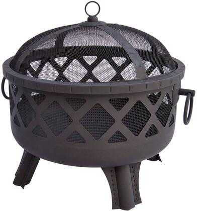 26384 Garden Lights Sarasota Fire Pit with Diamond Pattern  Deep Bowl  Decorative Trim  Spark Screen and Steel Construction in Black