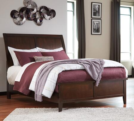 Evanburg Collection B598-58-56 King Size Bed with Sleigh Style Headboard  Clean Line Design  Tapered Legs  Okoume Veneer and Hardwood Solid Construction in