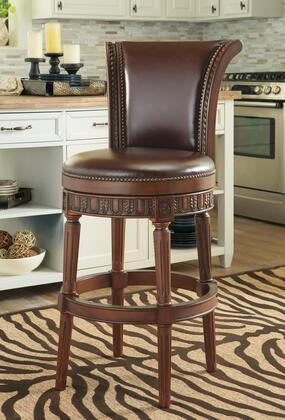 North Shore D553-230 45 inch  Tall Swivel Stool with Faux Leather Upholstery  Nail-Head Accent and Detailed Stretcher in Dark