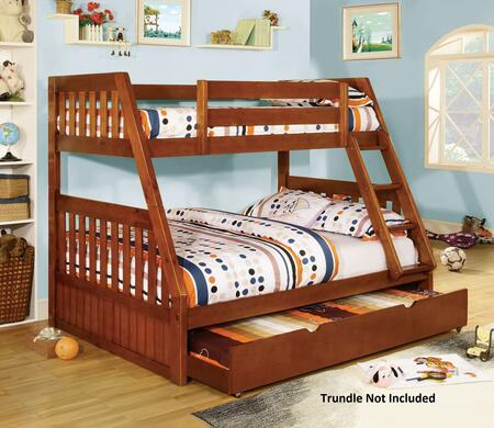 Canberra Collection CM-BK605A-BED Twin Over Full Size Bunk Bed with Angled Fixed Ladder  13 PC Slats Top/Bottom  Solid Wood and Wood Veneers Construction in