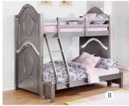 Valentine Collection 461132 Twin Over Full Size Bunk Bed with Camelback Panels  Slat Kits Included and Sturdy Wood Construction in Metallic