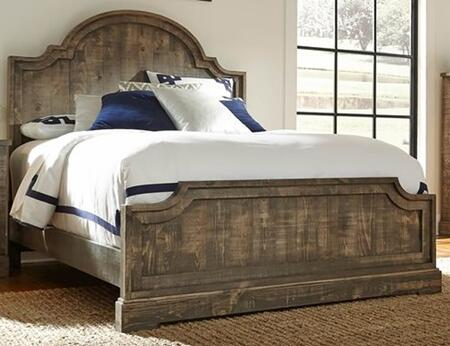 Meadow P632-34-35-78 Queen Sized Panel Bed with Headboard  Footboard and Rails in Weathered