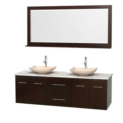 Wcvw00972descmgs5m70 72 In. Double Bathroom Vanity In Espresso  White Carrera Marble Countertop  Arista Ivory Marble Sinks  And 70 In.