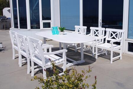 V1335SET17 Bradley Outdoor 7-Piece Wood Patio Dining Set With Extension Table In