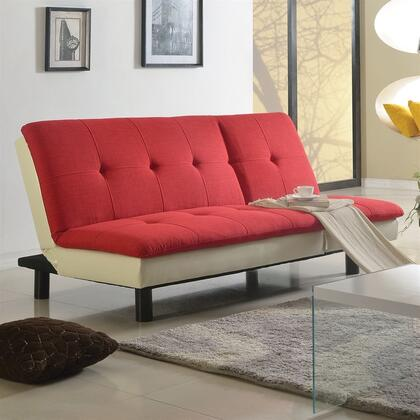 Fralling Collection 57182 77 inch  Adjustable Sofa with Wood Frame  Metal Legs  Tight Cushions  Fabric and Bycast PU Leather Upholstery in Red and Beige