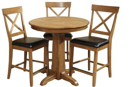Family Dining FD-TA-L36125GS-CNT-C  Dining Room Gathering Pedestal Table and 4 Chairs in
