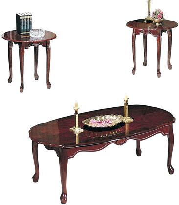 Essex Collection 02402 3 PC Living Room Table Set with 2 End Tables  Coffee Table  Cabriole Legs  Carved Apron and Palmette Details in Cherry