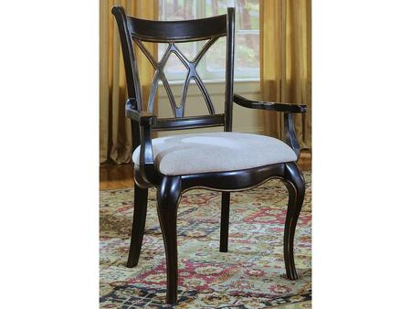 Preston Ridge Series 864-75-400 40 inch  Traditional-Style Dining Room X-Back Arm Chair with Cushion  Cabriole Legs and Fabric Upholstery in