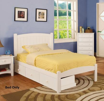 Caren Collection CM7902WH-F-BED Full Size Platform Bed with Cottage Style  Paneled Headboard  Solid Wood and Wood Veneers Construction in White