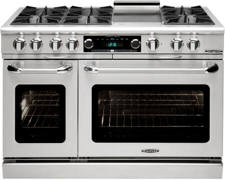 COB484G2SSN 48 inch  Connoisseurian Series Pro-Style Dual Fuel Range with 6 Open Burners and a Griddle  Double Ovens with 7.8 Cu. Ft. Total Oven Capacity and