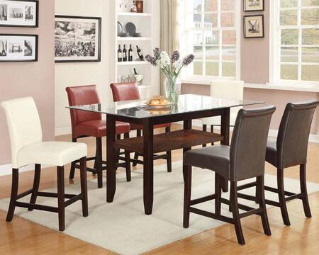 Ripley 71370T6C 7 PC Bar Table Set with Counter Height Table + 2 Red Chairs + 2 Espresso Chairs + 2 Ivory Chairs in Espresso