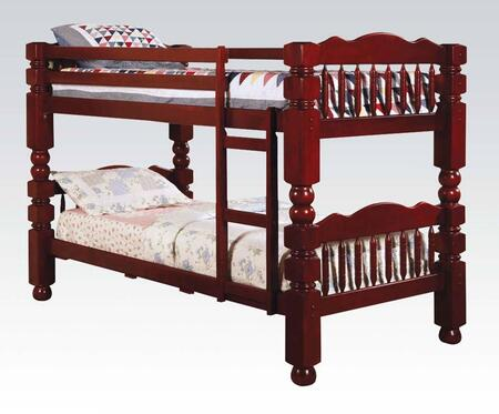 Benji Collection 02570 Twin Over Twin Bunk Bed with Supported Slats  Convertible Option  Safety Rails  Ladder and Rounded Posts in Cherry