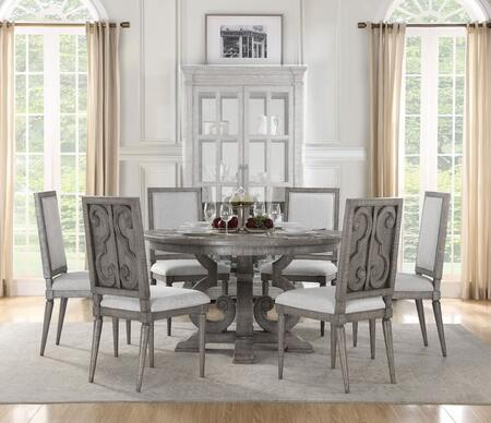 Artesia Collection 770857SET 7 PC Dining Room Set with Round Shaped Dining Table and 6 White Fabric Upholstered Side Chairs in Salvaged Natural