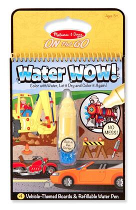 5375 Melissa & Doug Water WOW ON the GO Travel Activity Set with Paint-with-water Coloring Book  Reusable Pages and Refillable Water Pen: