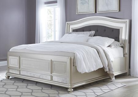 Coralayne B650-56/158/97 King Size Upholstered Panel Bed with Button-Tufted Headboard  Molding Details  and Mirror Panel on