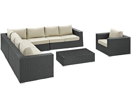 Sojourn Collection EEI-2013-CHC-BEI-SET 7-Piece Outdoor Patio Sunbrella Sectional Set with Left Arm Facing Loveseat  2x Armless Chairs  Corner Chair  Right Arm