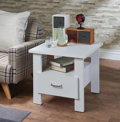 Delano Collection 97268 22 inch  Nightstand with 1 Drawer  Open Storage Shelf  Straight Legs  Metal Hardware and PVC Veneer Materials in White