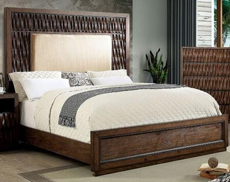 Eutropia CM7395QBED Warm Chestnut Wood/Fabric Queen Bed by Furniture of America