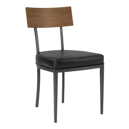 Ojai Collection LCOJCHVBWL Mid-Century Dining Chair in Mineral Finish with Vintage Black Faux Leather and Walnut Wood Back - Set of