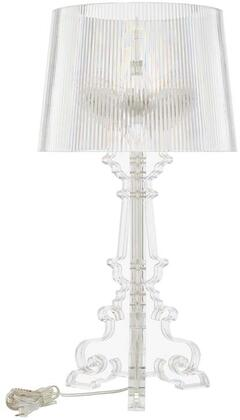 French Grande Collection EEI-2908-CLR Table Lamp with 3 Bulb Capacity  Pleated Drum Shade  Baroque Style  Acrylic Base and Shade in Clear