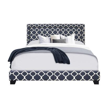 DSA123291292 Marine Quatrefoil Upholstered With Nail Head Trim King