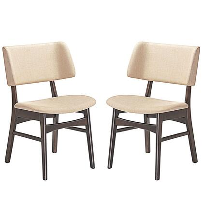 Vestige Collection EEI-2024-WAL-BEI-SET Set of 2 Dining Side Chairs with Wood-Grained Dark Walnut Veneer Materials  Foam Filled Cushion and Linen Upholstery in