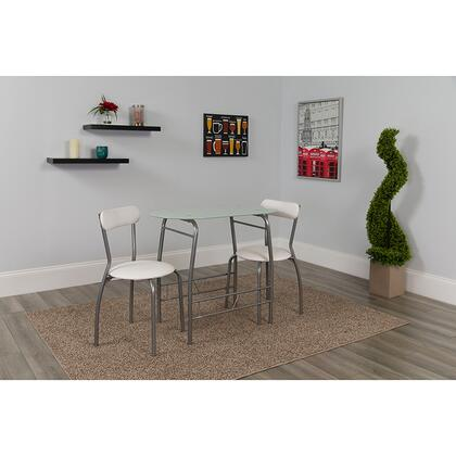 XM-JM-A0278-1-2-WH-GG Sutton 3 Piece Space-Saver Bistro Set with White Glass Top Table and White Vinyl Padded