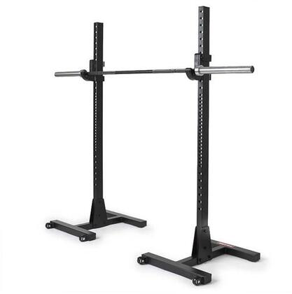 XM-4052 Commercial H-Base Squat Stand with Wheels  7 Gauge Commercial Steel and J-Cup with Nylon in