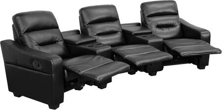 BT-70380-3-BK-GG Futura Series 3-Seat Reclining Black Leather Theater Seating Unit with Cup 548615