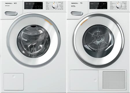 White Front Load Laundry Pair with WWF060WCS 24 inch  Front Load Washer and TWI180WP 24 inch  Electric Dryer