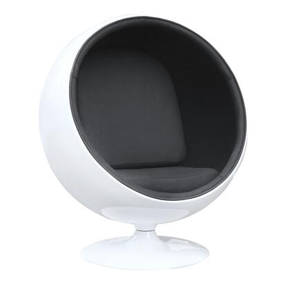 FMI1150-BLACK Ball Chair with Fiberglass Shell and Cotton Fabric Seat in