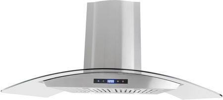 668AS90-CFM 36 inch  Glass Canopy Chimney Wall Range Hood with 380 CFM  3 Speed Control  LED Lighting and Dishwasher Safe Baffle Filters  in Stainless