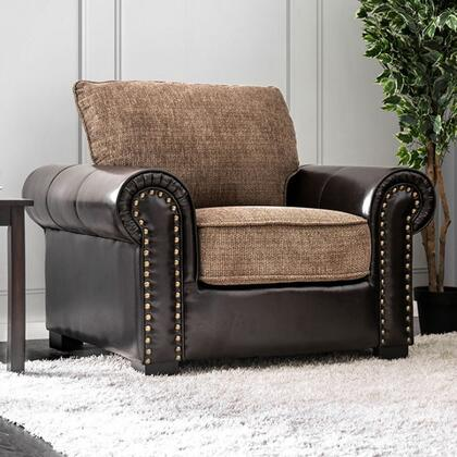 Ceuta CM6522-CH Chair with Rolled Arms  Nail Head Accents  Chenille Fabric and Leatherette Upholstery in Brown and
