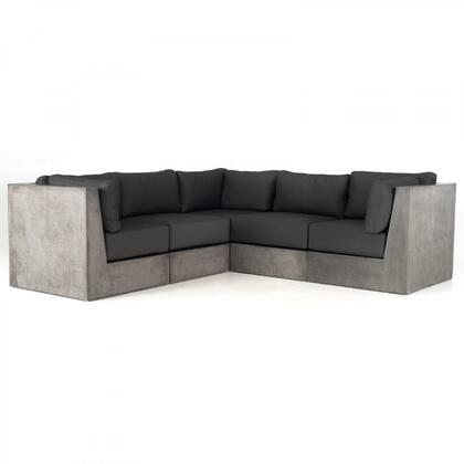 Modrest Indigo Collection VGGR980170 5-Piece Modular Concrete Sectional Sofa with 3x Corners and 1x Armless Chairs in