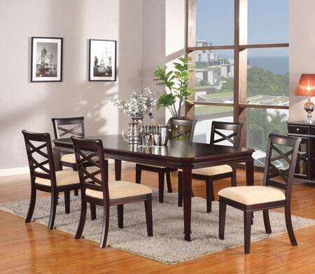 Beale Collection 70215SET 7 PC Dining Room Set with Dining Table + 6 Side Chairs in Espresso