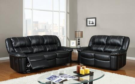 U9966-Black-SL 2 Piece Bonded Leather Reclining Livingroom Set in Black  Sofa +