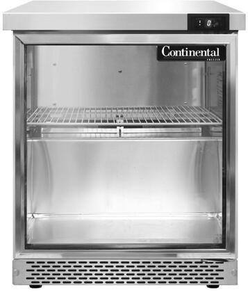 SWF27GDFB 27 inch  Worktop Freezer with Hinged Glass Door  7.4 Cu. Ft. Capacity  Front Breathing Compressor  Aluminum Interior  Interior Hanging Thermometer  and