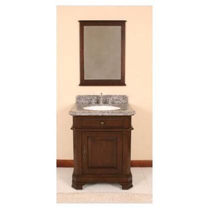WF6500-28/DC Single Sink Wood Vanity With Granite Top  Mirror and