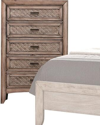 Ireton Collection 26036 32 inch  Chest with 5 Drawers  Matte Dark Brown Hardware  Rubberwood and Okume Veneer Materials in Caramel