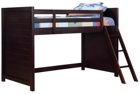 Danville Collection 400327 Twin Size Loft Bunk Bed with Clean Line Design  Ladder  Slat Kit Included and Wood Construction in