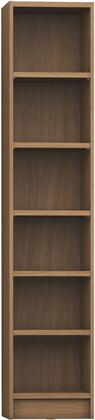 """Greenwich Collection 160252 33"""" 6-Shelf Narrow Venti 1.0 Bookcase with 6 Adjustable Shelves  Sleek Metal Hardware and Closed Base in Maple"""
