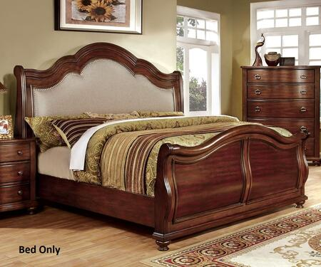 Bellavista Collection CM7350H-Q-BED Queen Size Bed with Nailhead Trim  Padded Fabric Headboard  Solid Wood and Wood Veneers Construction in Brown Cherry