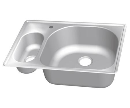 CMT3322-59D Stainless Steel Double Bowl Topmount Sinks  5-1/2 inch  H Small Bowl on