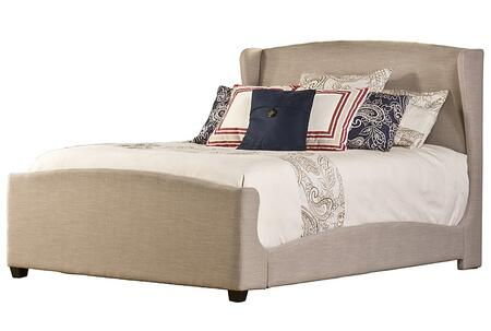 Barrington 1262BQR Queen Sized Bed with Wingback Headboard  Footboard and Rails and Linen Upholstery in