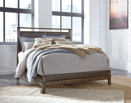 Zilmar Collection B548-81/96 Queen Size Panel Bed with Upholstered Headboard  Open Cap Rail Design and Wood Grain Details in