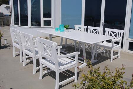 V1334SET17 Bradley Outdoor 7-Piece Wood Patio Dining Set With Extension Table In