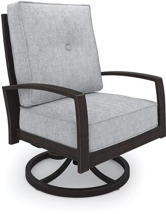 Castle Island Collection P414-821 31 inch  Outdoor Swivel Lounge Chair with Removable Cushion  Nuvella Fabric and Rust-Proof Aluminum Construction in Dark Brown and