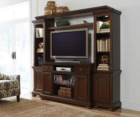Porter Collection W697120ENT 86 inch  4-Piece Entertainment Center with 54 inch  TV Stand  Left Pier  Right Pier and Bridge in Rustic